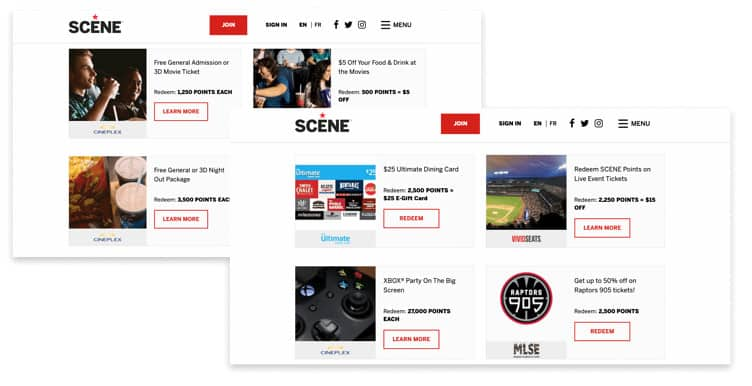 brands using rewards to get repeat customers - SCENE points