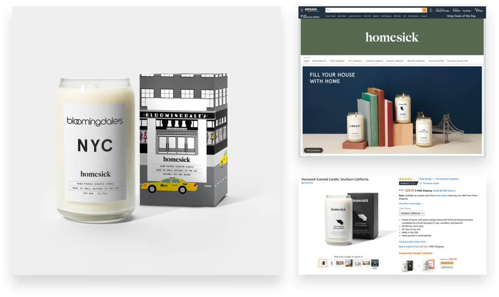 Homesick Candles via Wholesale and Amazon