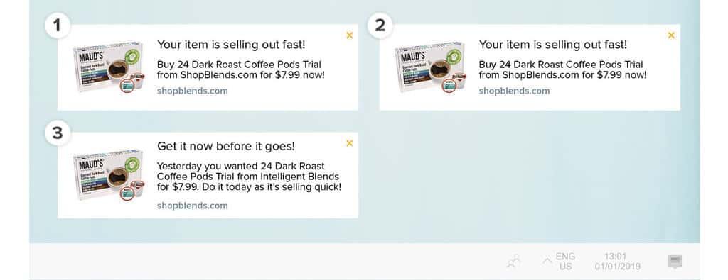Intelligent Blends abandoned cart notification flow