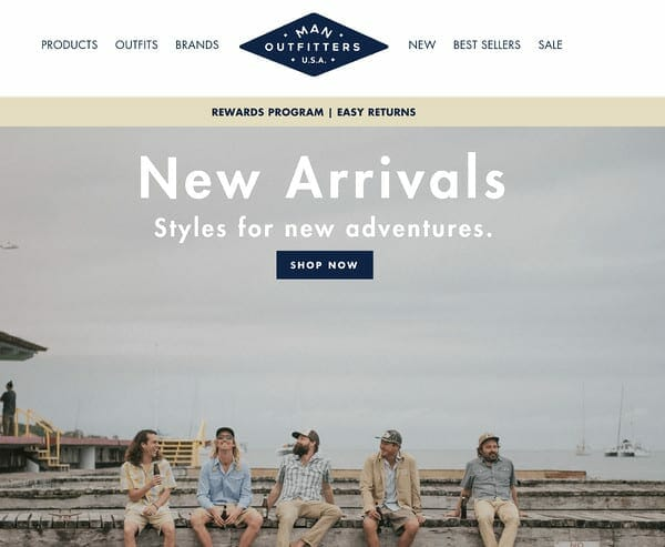 Man Outfitters homepage 2020