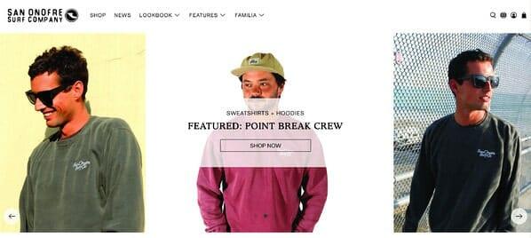 San Onofre Surf Company homepage 2020