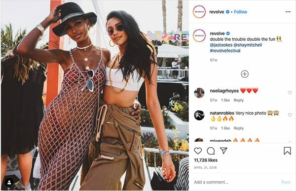 influencers and experiential marketing influencers at coachella revolve brand event