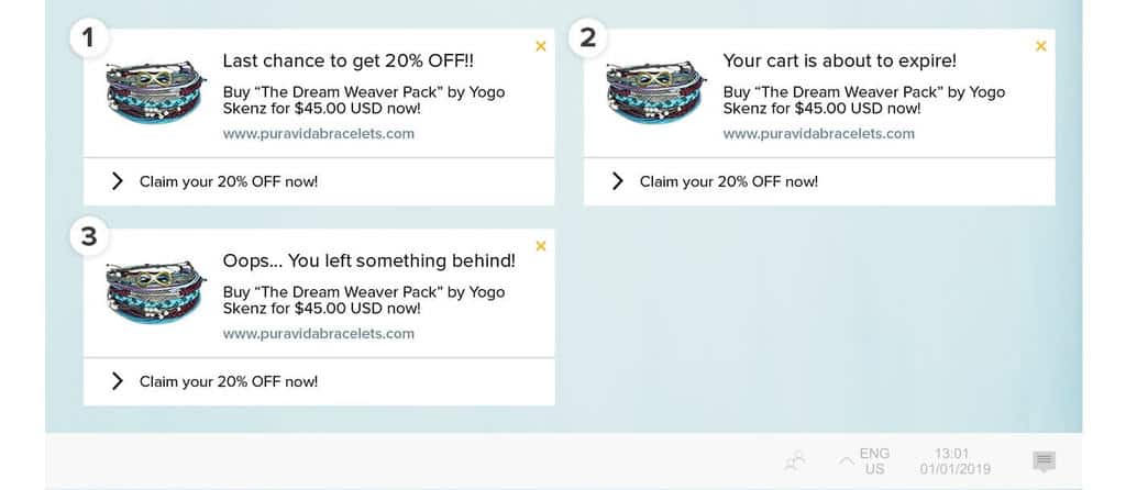 Pura Vida's abandoned cart notification flow