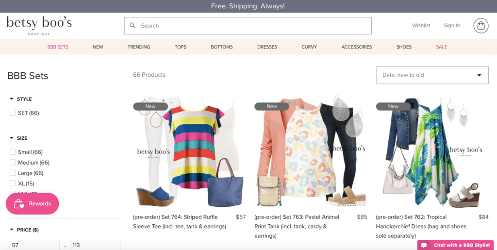 women ecommerce brands - betsy boos boutique product page
