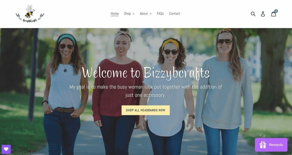 women ecommerce brands - bizzyb crafts homepage