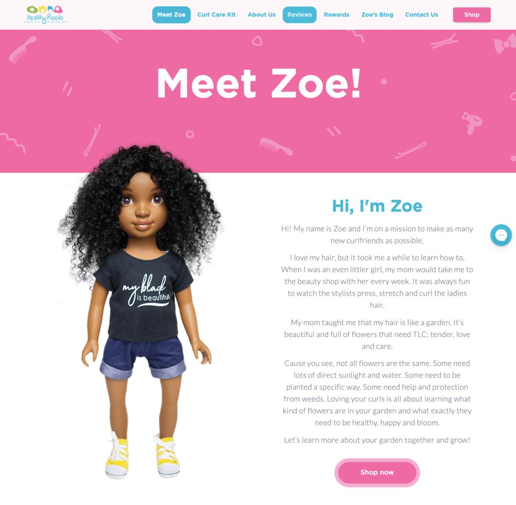 women ecommerce brands - healthy roots zoe doll