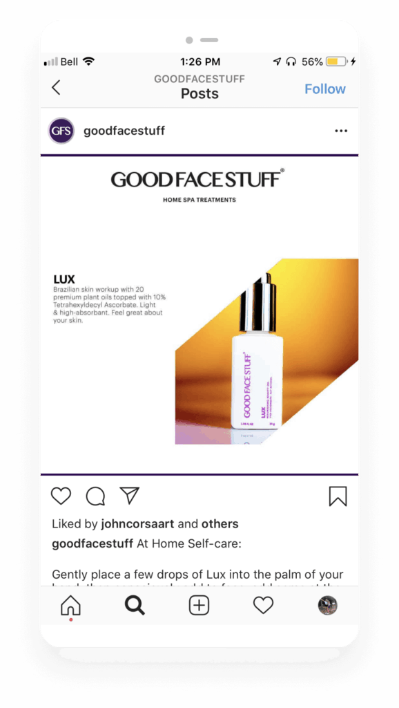 5 brands creating sustainable growth - Good Face Stuff Instagram
