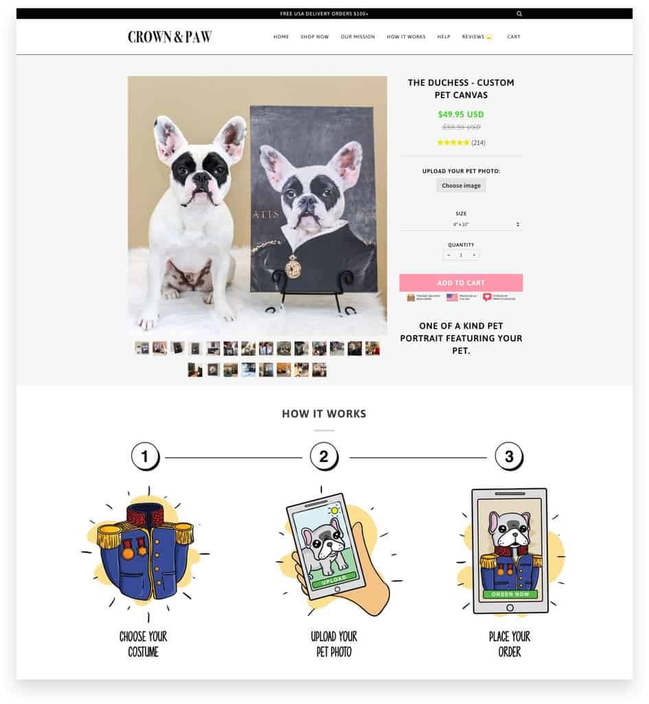 Crown & Paw Ecommerce Pet Product Page Example