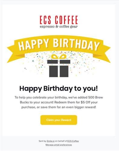ECS Coffee email example