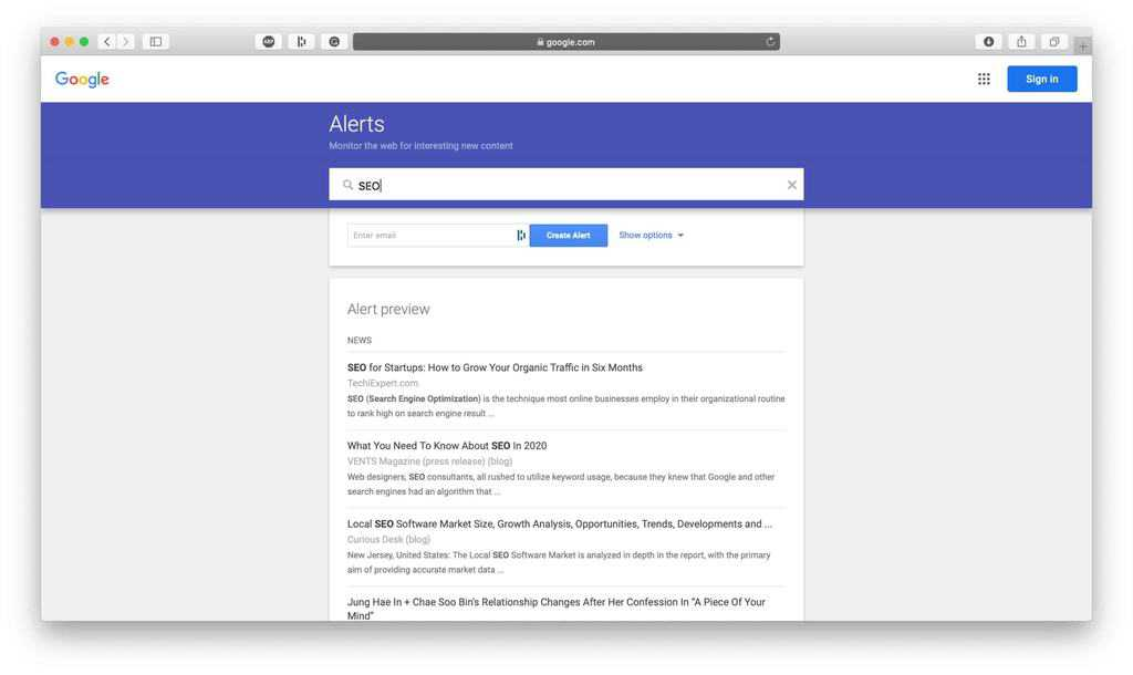Google Alerts Competitive Research