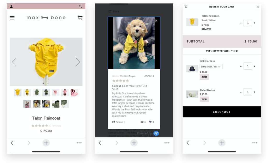 Max Bone Dog Rain Coat Product Page, Review, UGC, and Cart Upsells