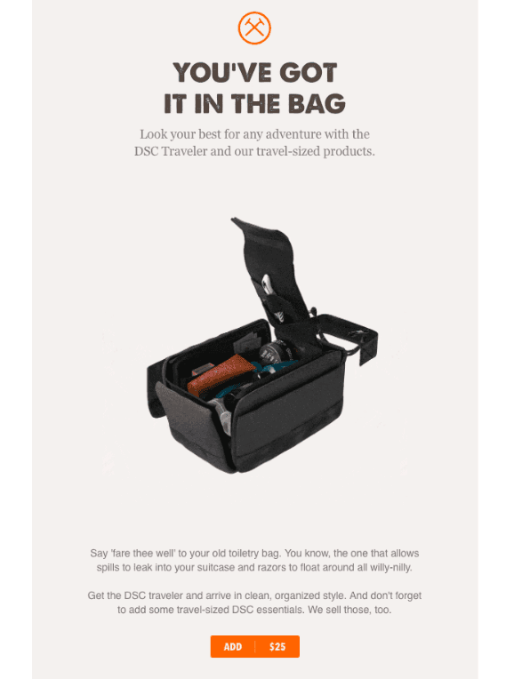 Post-purchase emails - Dollar Shave Club - upsell