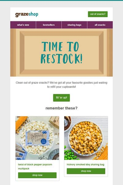 Post-purchase emails - Graze - restock