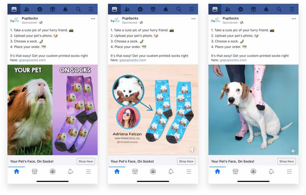 Pupsocks Facebook Ads