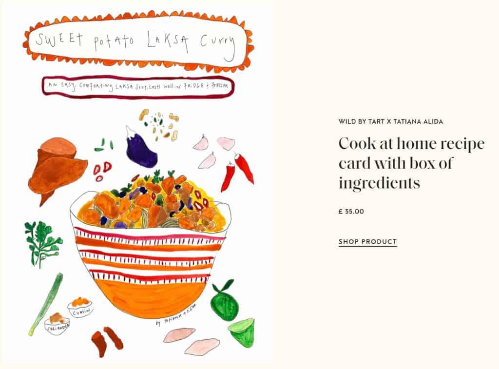 A Tart London original art recipe card