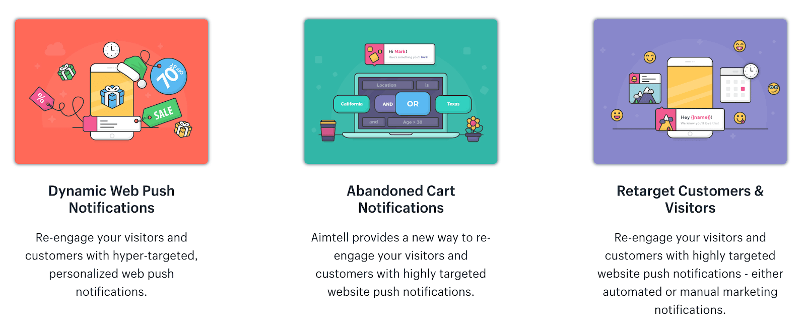 Aimtell dynamic, abandoned cart and retarget web pushes