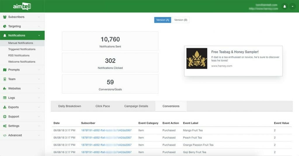 Aimtell conversion results in application dashboard