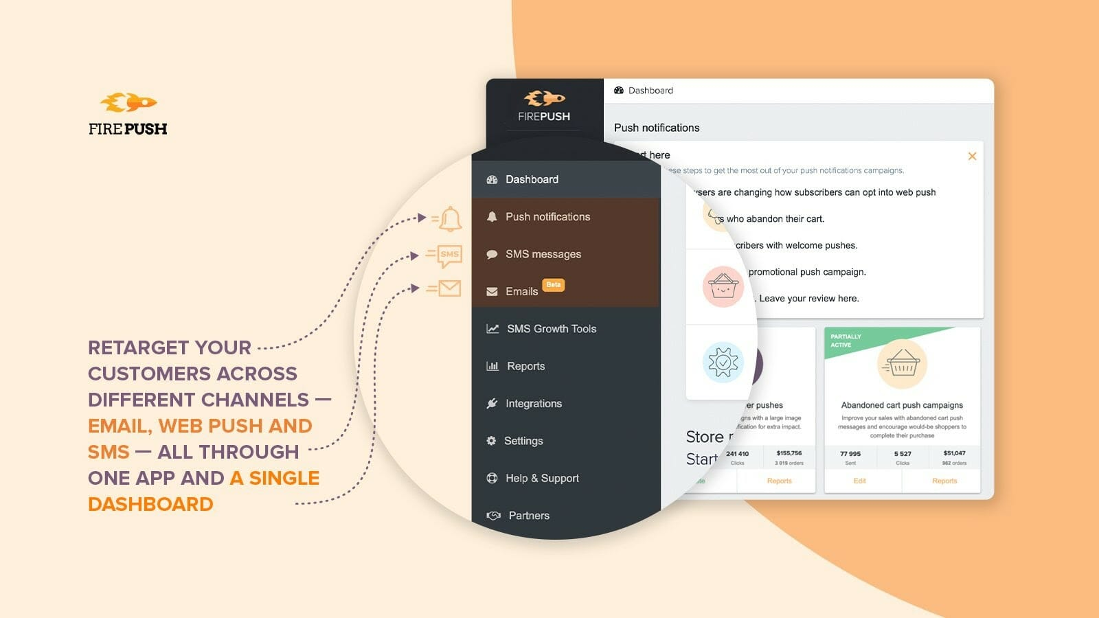Firepush retargeting custome application with SMS, Emails and Web pushes