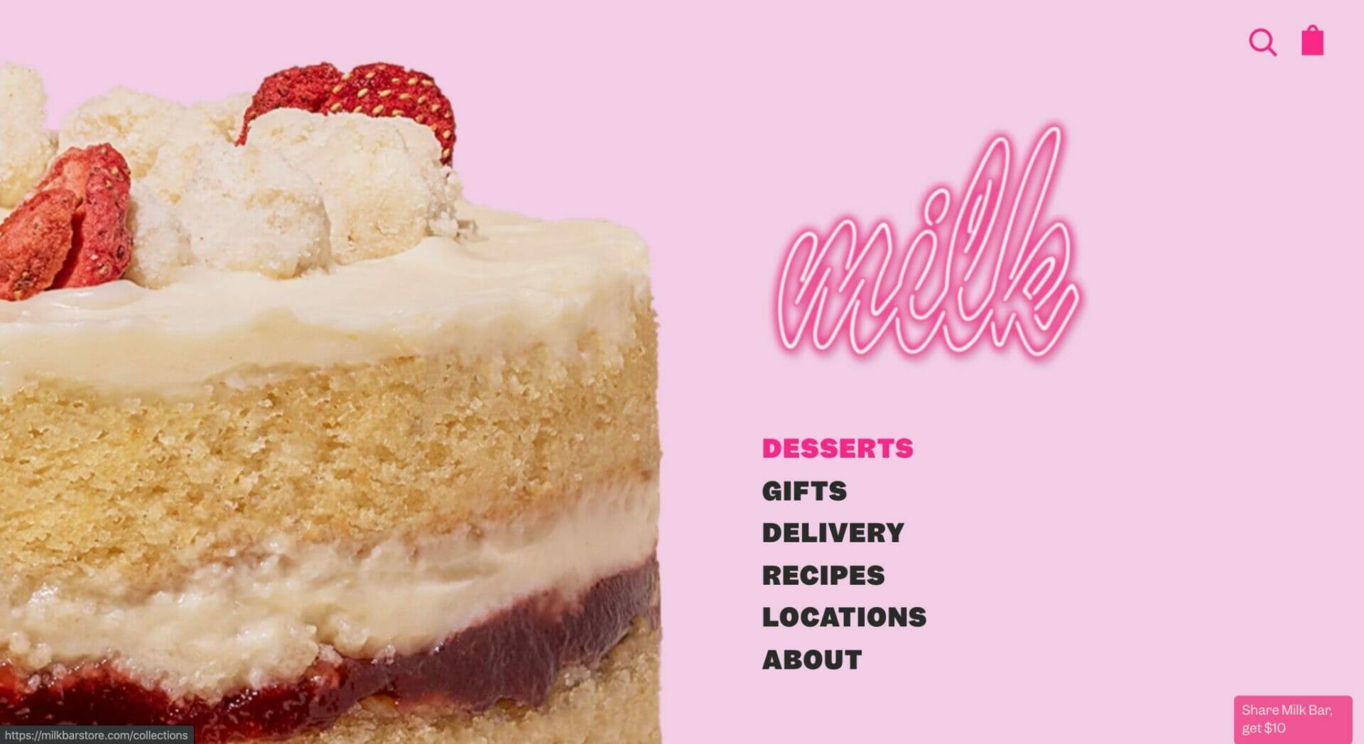 Milk Bar Store homepage