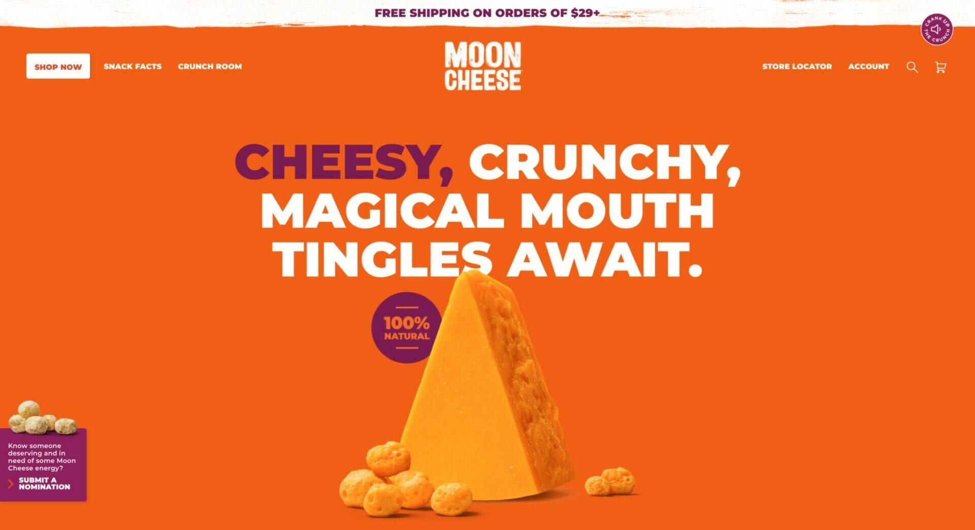 Moon Cheese homepage