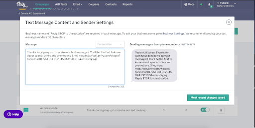 Privy Text Content and Sender Settings Screenshot