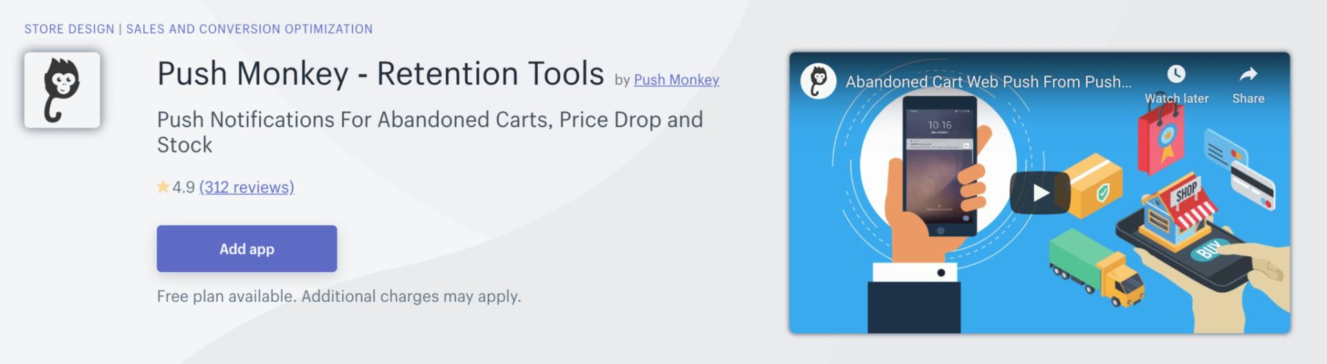 Push Monkey abandoned carts, price drop and stock push notifications