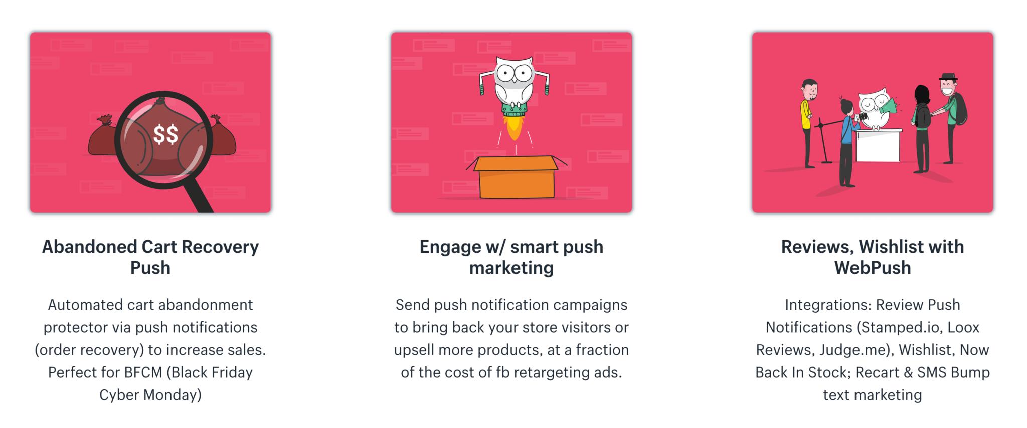 PushOwl abandoned cart, smart push and reviews push notifications