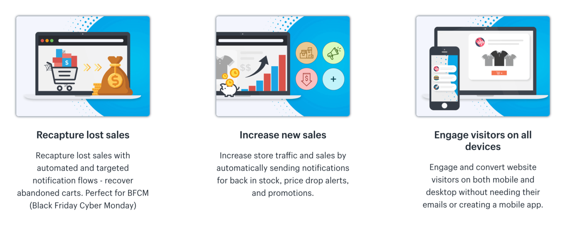 Smart Push Marketing racapture lost sales, increase new sales and engage visitors web pushes