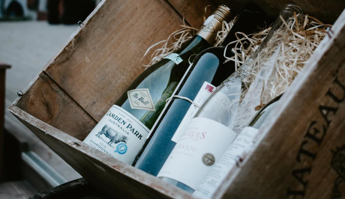 Wine in crate