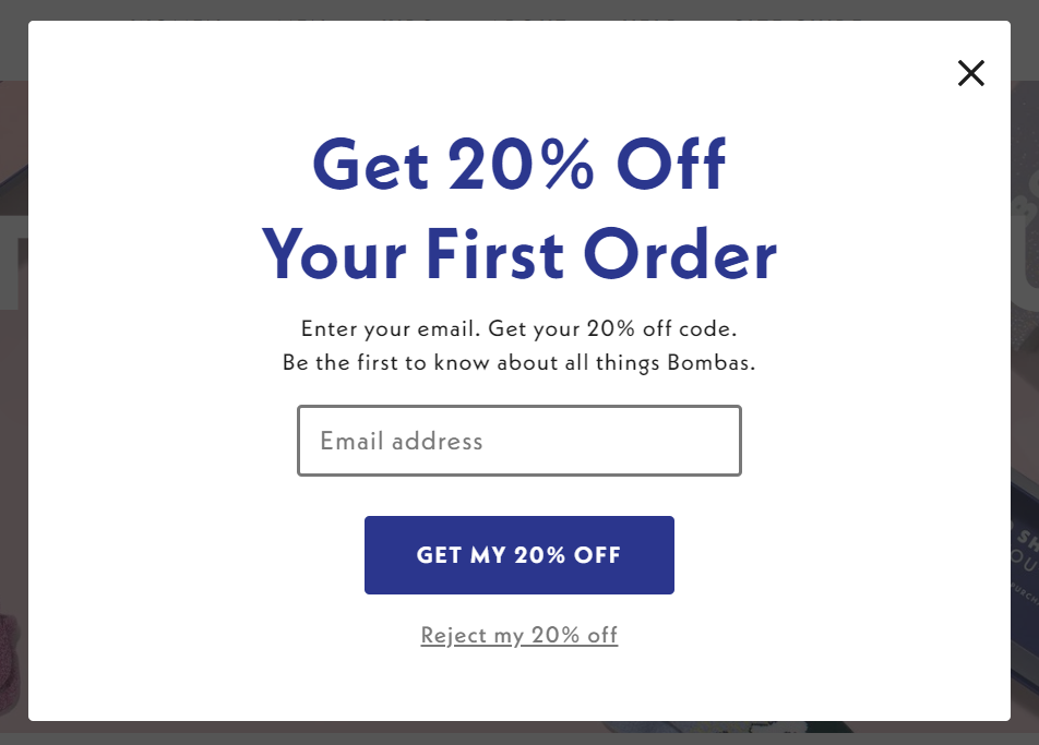 Bombas email opt-in