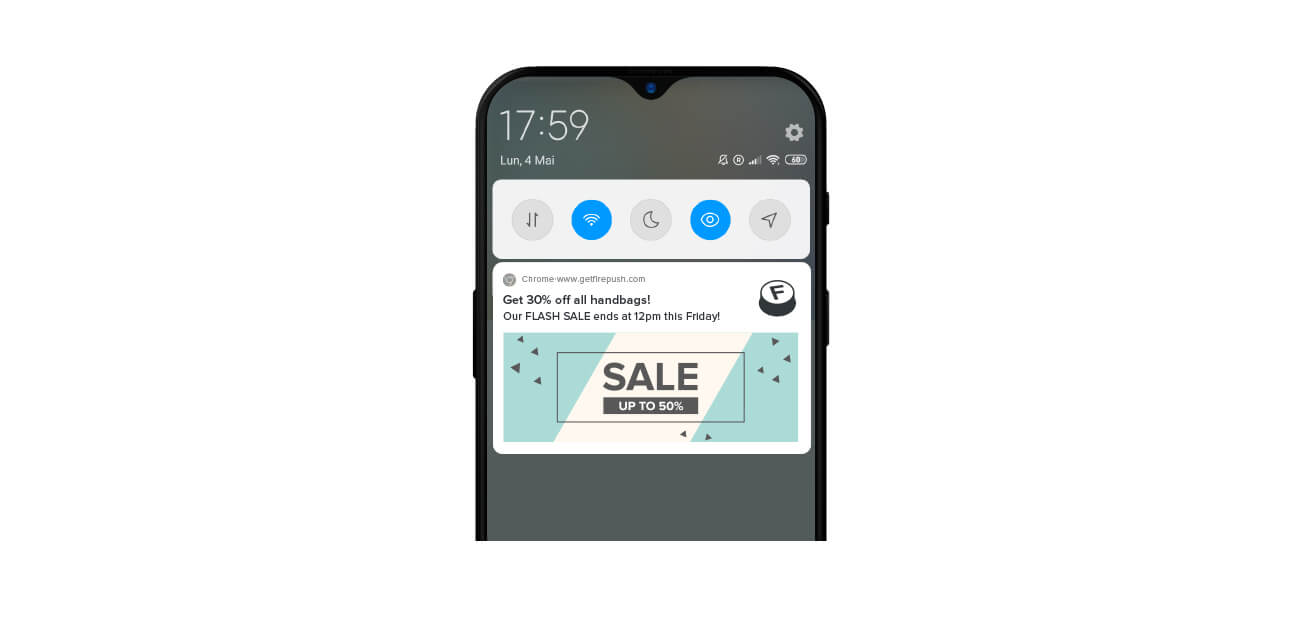 Web push notification example using Android mobile phone