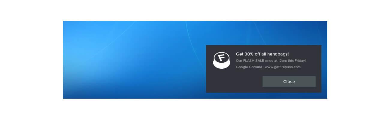 Web push notification example using Windows 10 PC Chrome browser