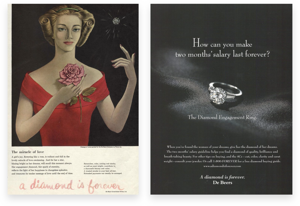 De Beers advertisements made diamond rings a staple