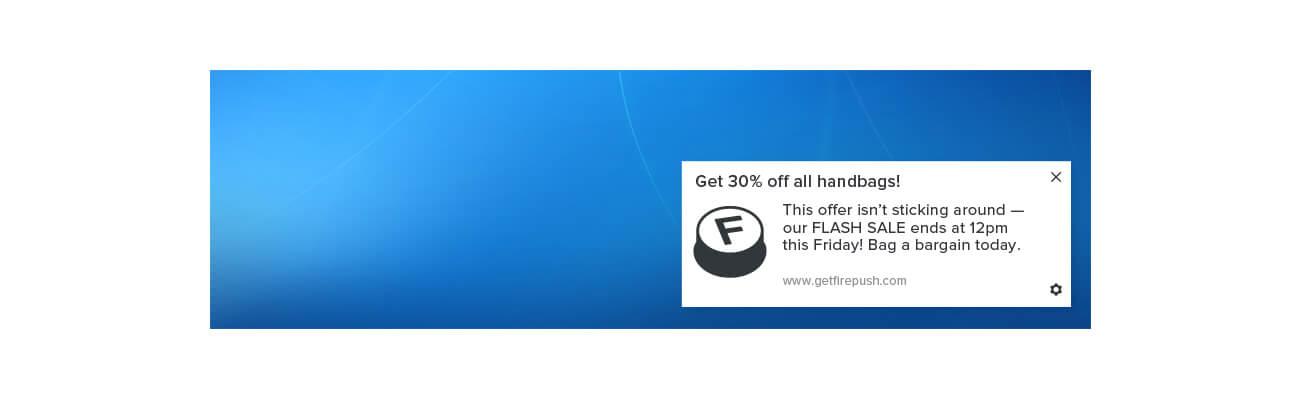 Web push notification example using Windows 10 PC Firefox browser
