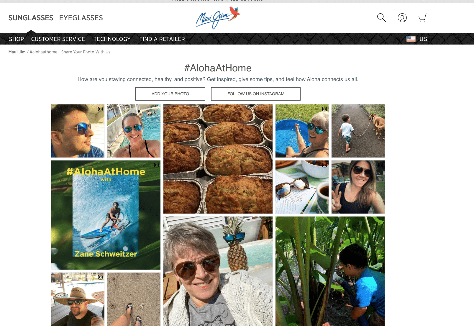 User generated content from maui jim website