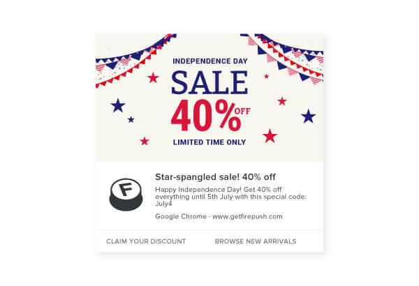 Firepush web push 4th of July 40% sale notification example