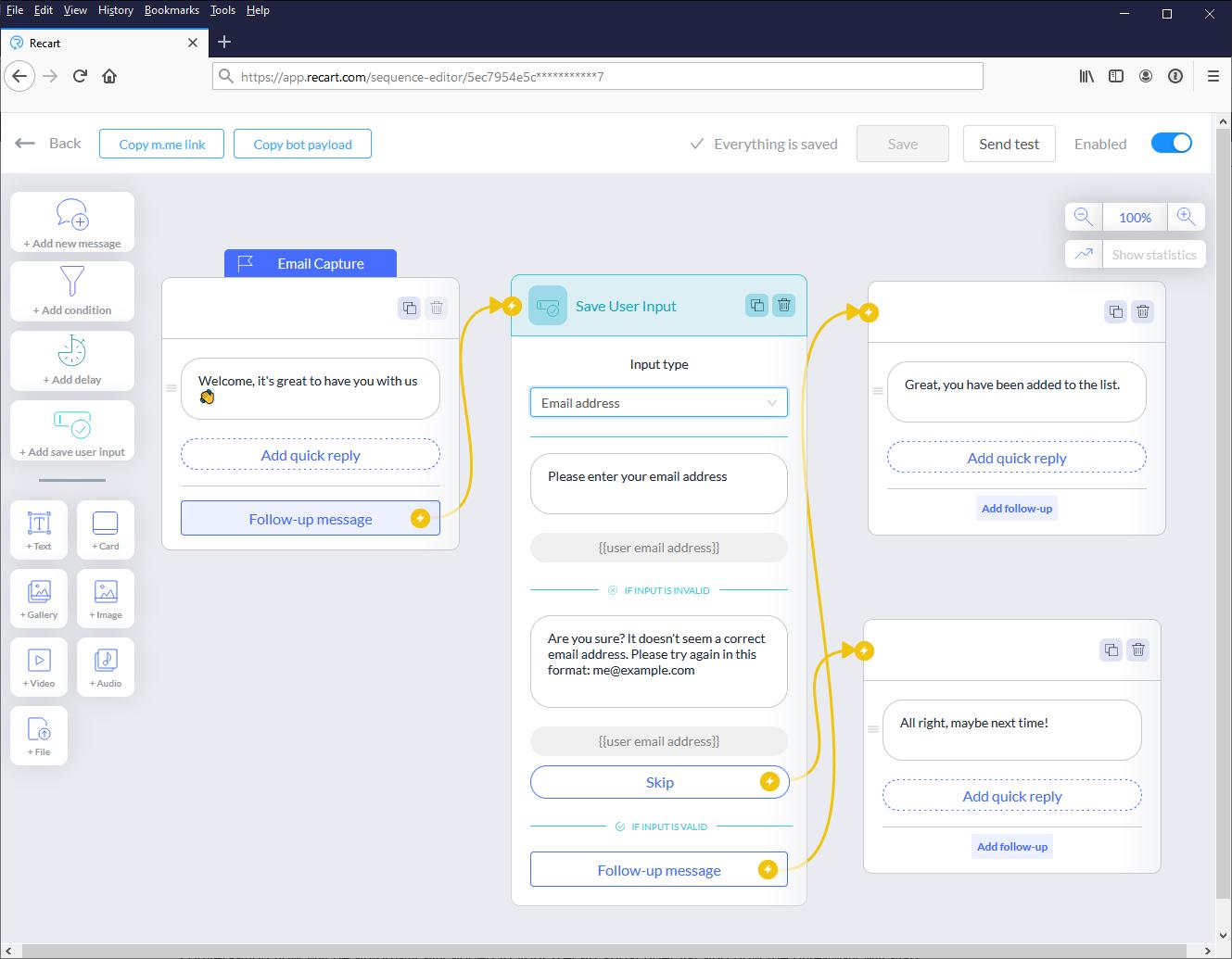 Email capture conversation flow