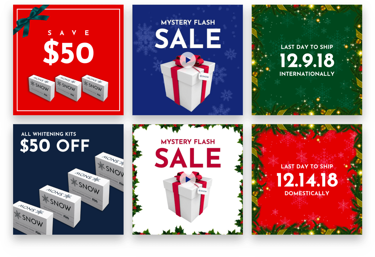 Snow holiday-themed ad creative