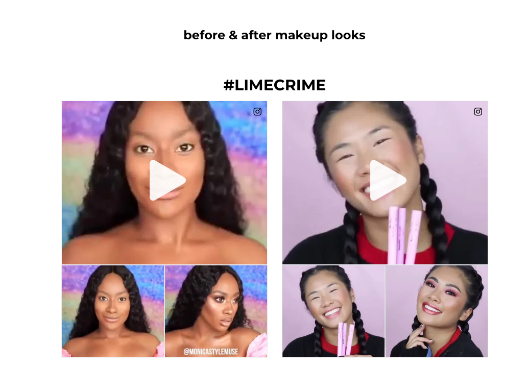 image screenshot of makeup brand before and after tutorials