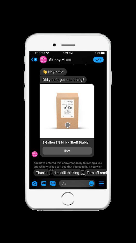 Skinny Mixes Facebook Messenger chatbot example