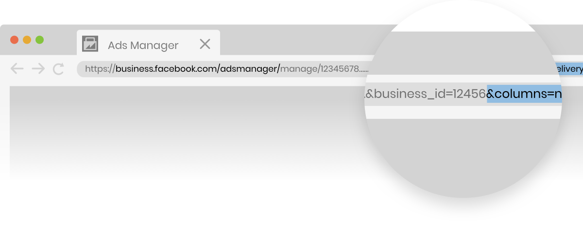 Facebook Ads Manage column view code location