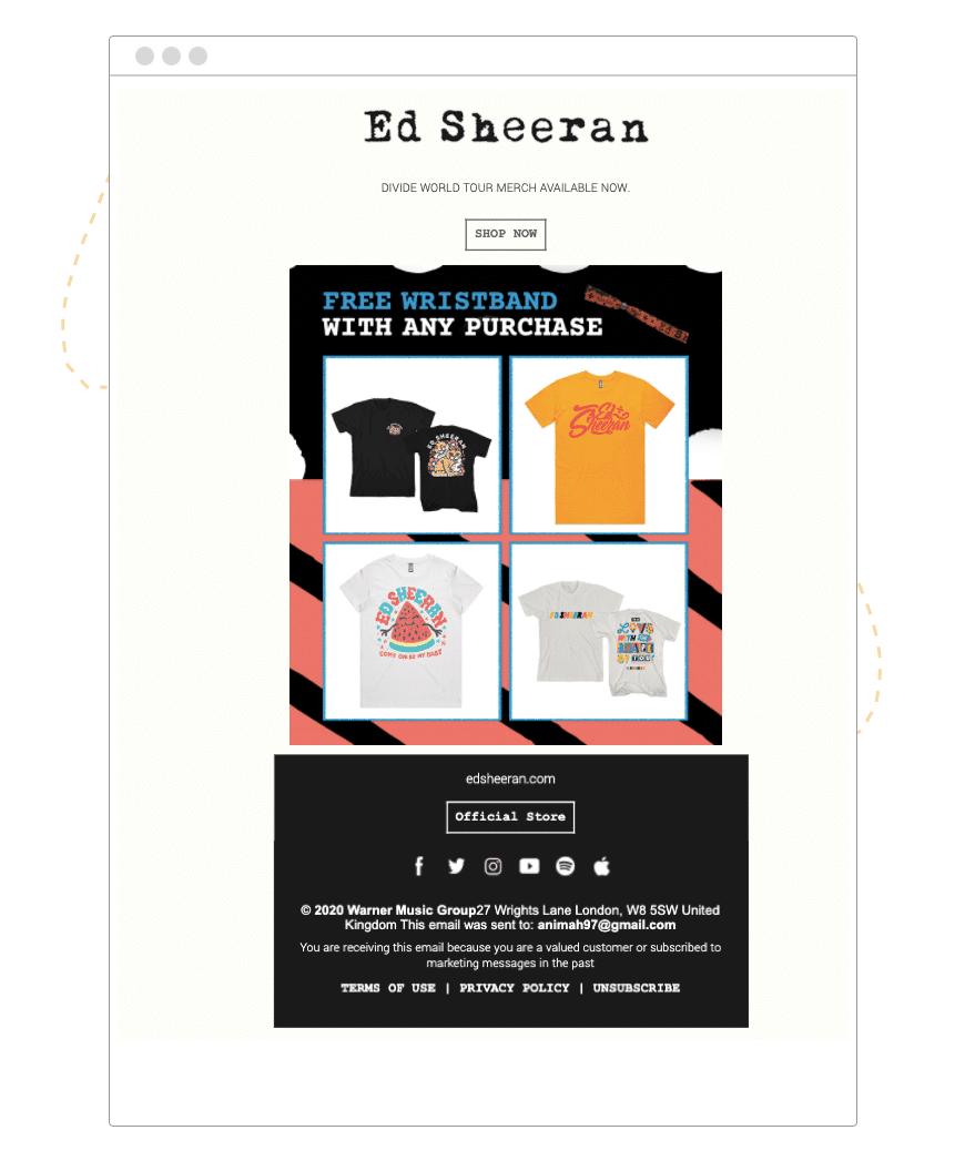 Ed Sheeran freebie email example   hive.co