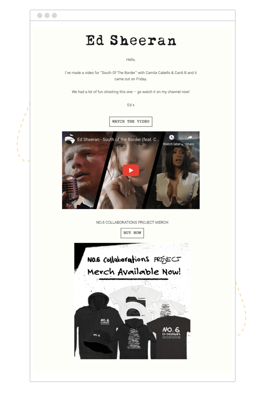 Ed Sheeran new launch email example   hive.co  1