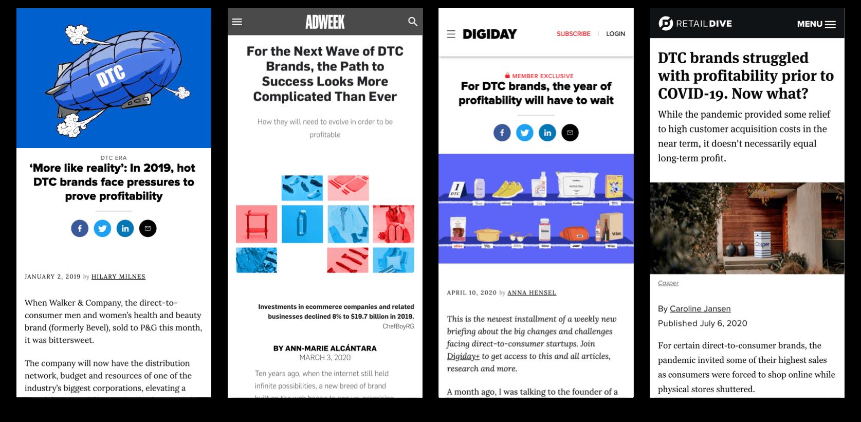 DTC Ecommerce Profitability Headline Examples