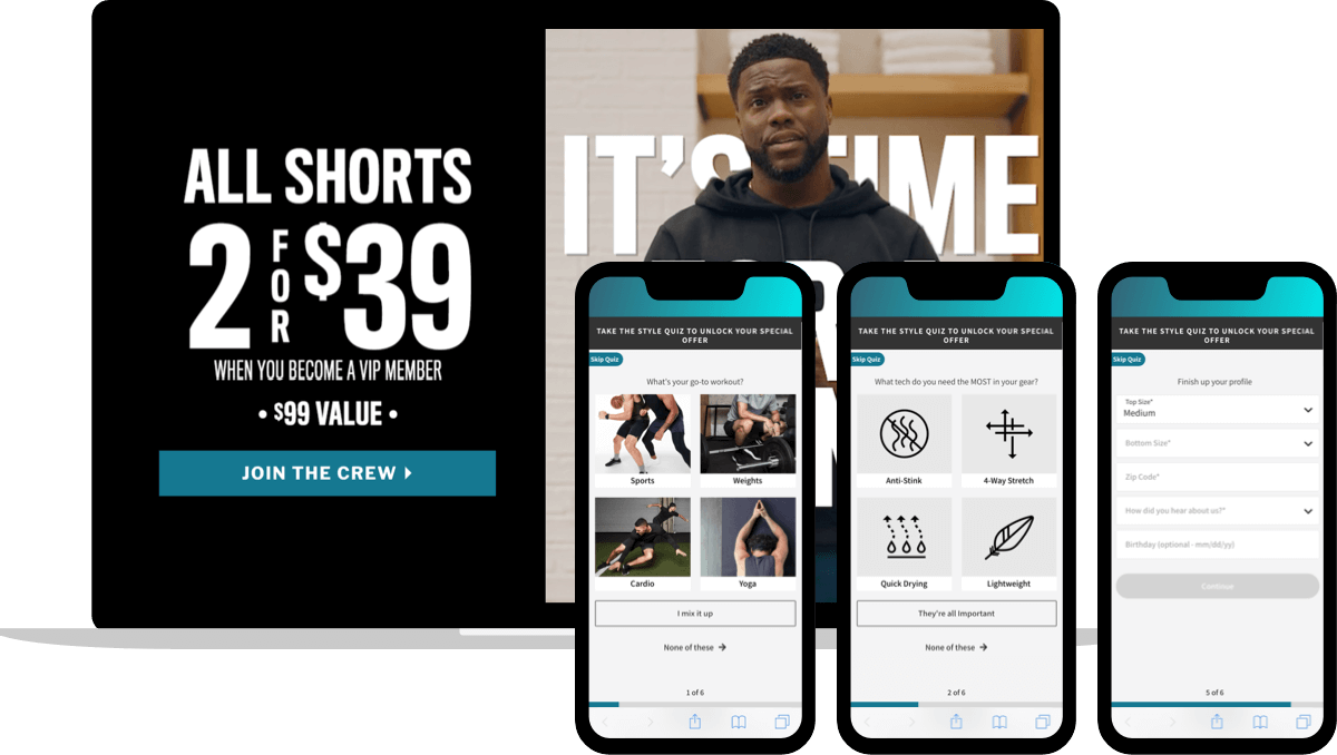 Ecommerce fitness apparel market custom ad landing page and quiz