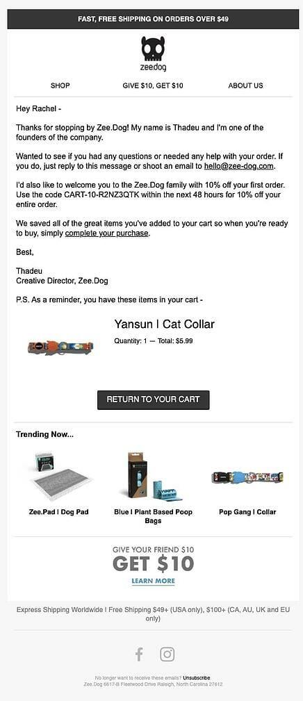 Zee.Dog Abandoned Cart Email