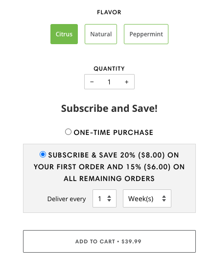 Screenshot of subscription onboarding flow