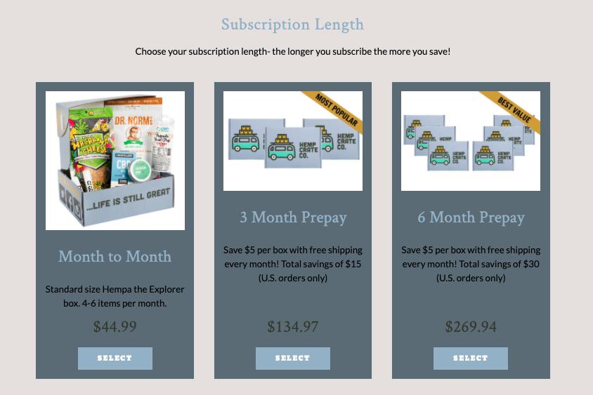 Image of three cannabis subscription options