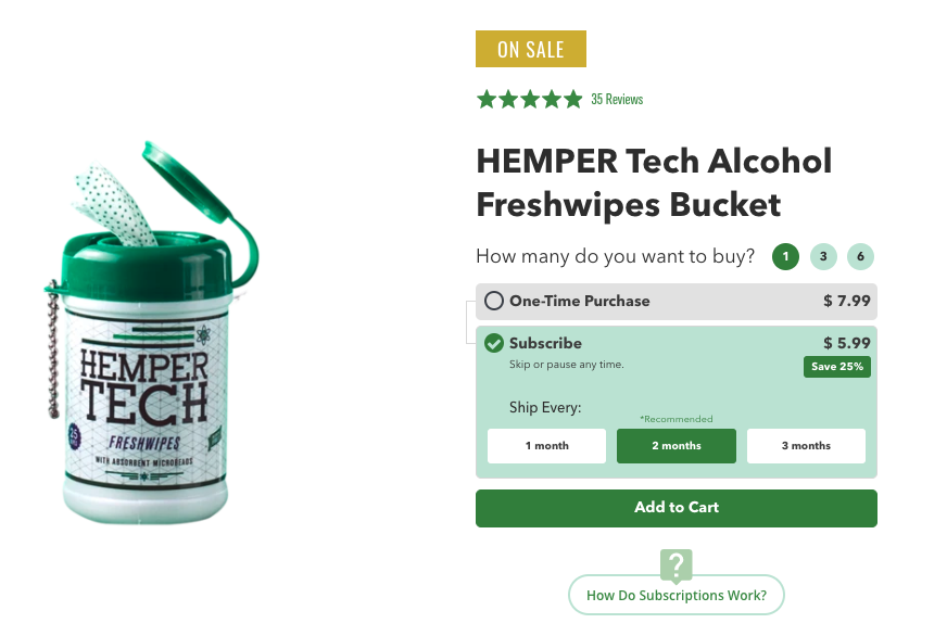 Product image of hemp wipes with subscription option