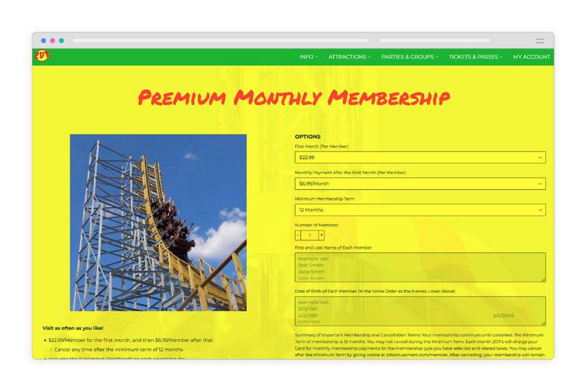 ZDT Amusement Park brick and mortar subscription